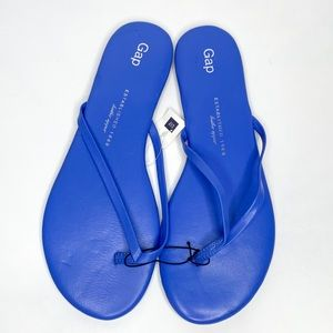 Gap Neon Medium Blue Leather Flip Flops NWT Size 8